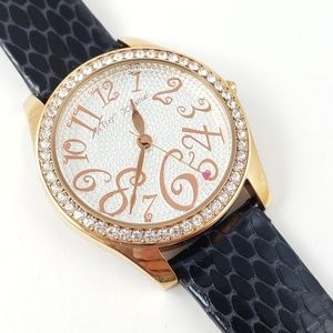 Betsey Johnson Watch Embossed Black Leather Band